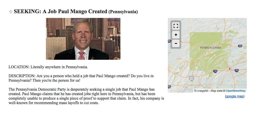 PA Dems Job Posting: Seeking A Job Paul Mango Created